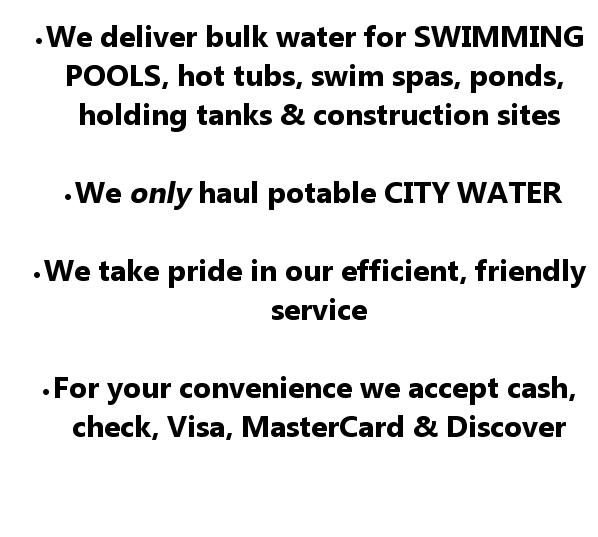 Water Hauling Swimming Pool Water Bulk Water Pool Water
